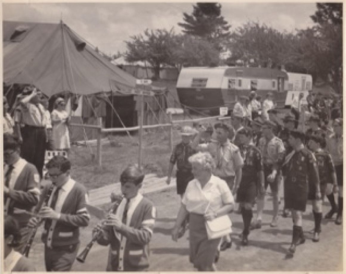 Scouts Marching into Camp