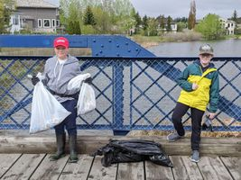 Pair of Park Cub Scouts cleaning up parks during pandemic