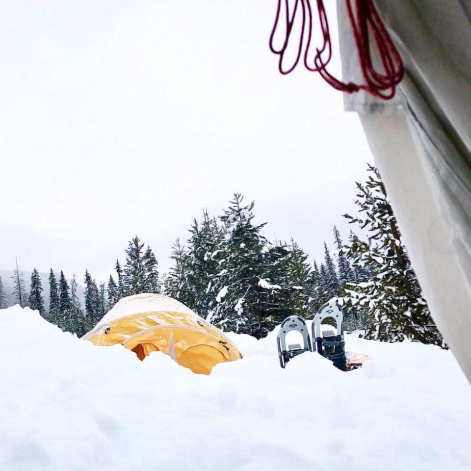 Winter camp - tent in the snow